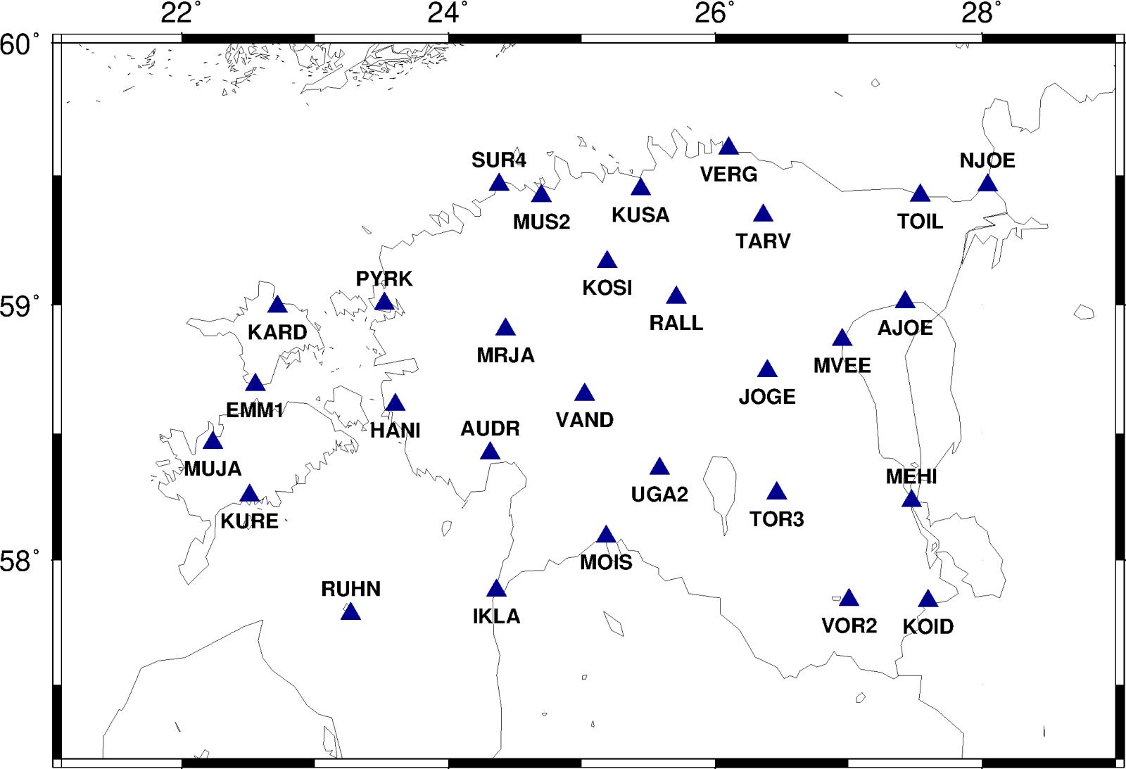 Eesti kaart ESTPOS GNSS-püsijaamade asukohtadega